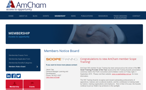 AMCHAM Scopetraining WA Training Award Winner